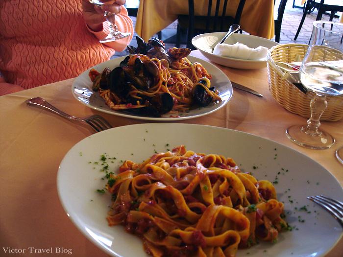 Food in the restaurant of Camin Hotel Colmegna, Lake Maggiore, Italy.