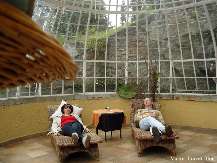 We are reading in the pavilion for reading of Camin Hotel Colmegna. Lake Maggiore, Italy.