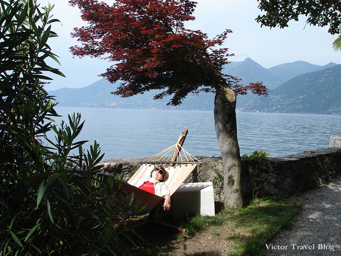 The rest zone of Camin Hotel Colmegna, Lake Maggiore, Italy.