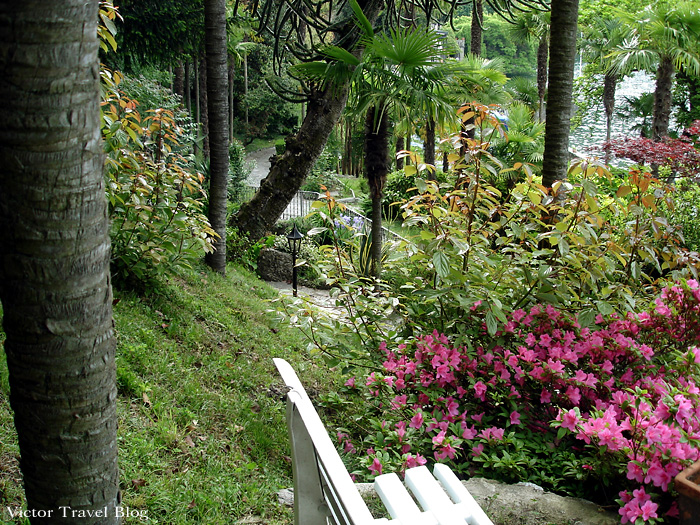 The park of Camin Hotel Colmegna, Lake Maggiore, Italy.