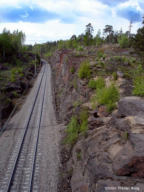 The old railway in Monrepo. Viborg, Russia.