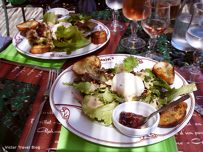 Salad with fried goat cheese. Provence, France.