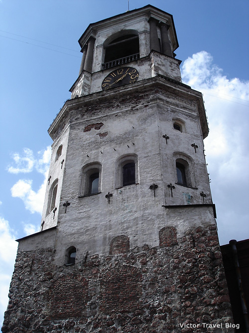 The old clock tower of Viborg. Russia.