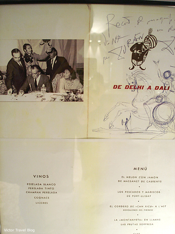 The menu of the Duran Hotel & Restaurant in Figueres, Catalonia, Spain, with drawings by Dali.