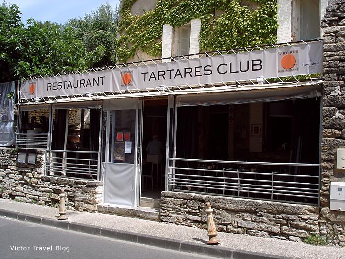 The restaurant Tartar Club. Gordes, Provence, France.