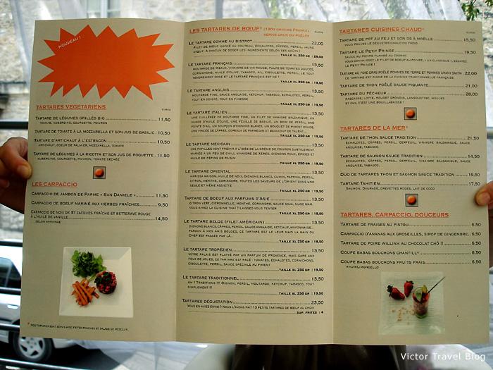 Menu of the restaurant Tartar Club. Gordes, Provence, France.