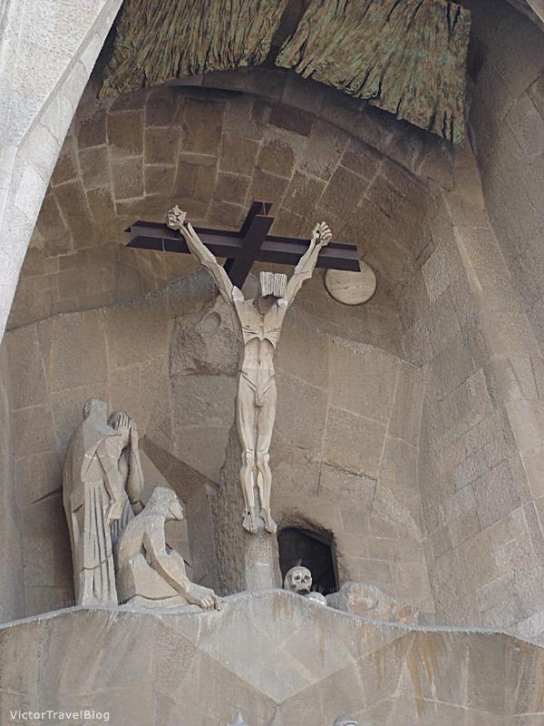 Crist on the Sagrada Familia. Barcelona, Catalonia, Spain.