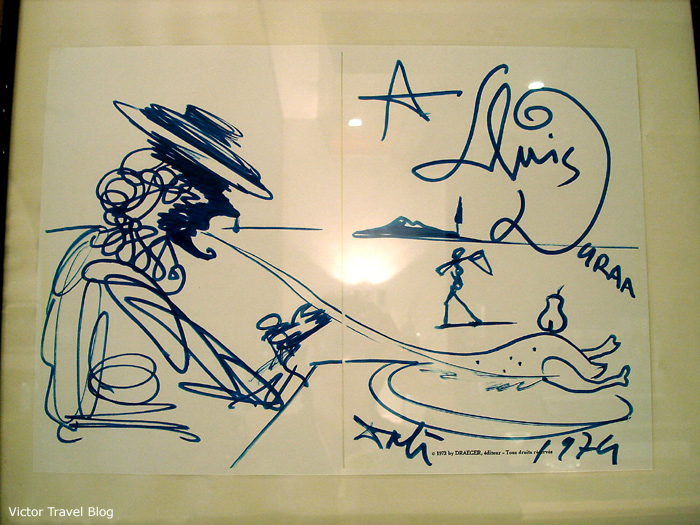 A drawing by Salvador Dali in the Duran Hotel & Restaurant, Figueres, Catalonia Spain.