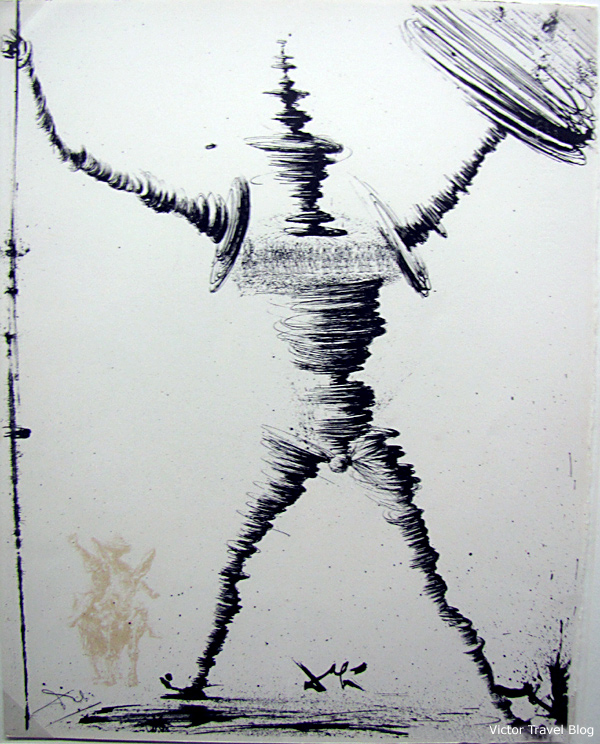 Don Quixote. A drawing by Dali. The Salvador Dali Theatre-Museum in Figueres, Catalonia, Spain.