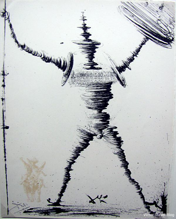 Don Quixote. A drawing by Dali. The Salvador Dali Theatre-Museum in Figueres, Catalonia, Spain.
