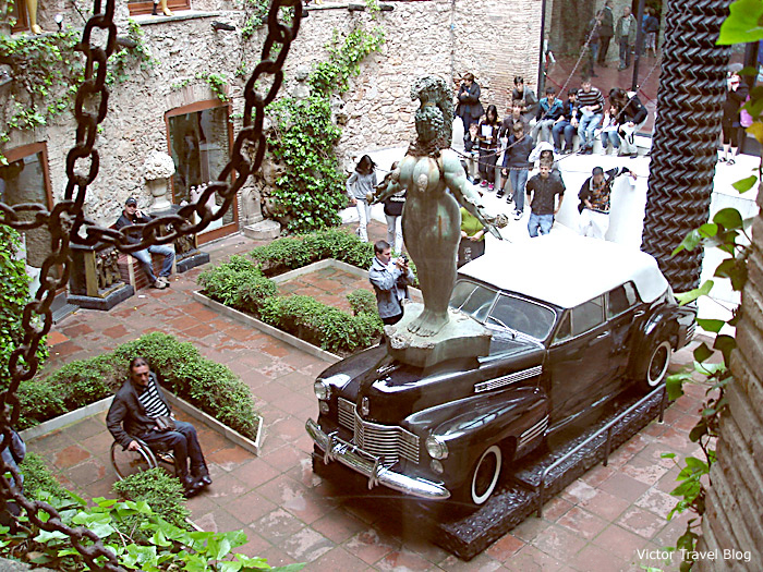 The car with a rain inside it. The Salvador Dali Theatre-Museum in Figueres, Catalonia, Spain.