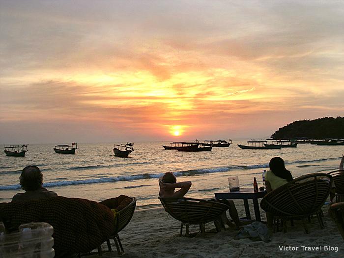 The sunset on Serendipity Beach, Sihanoukville, Cambodia