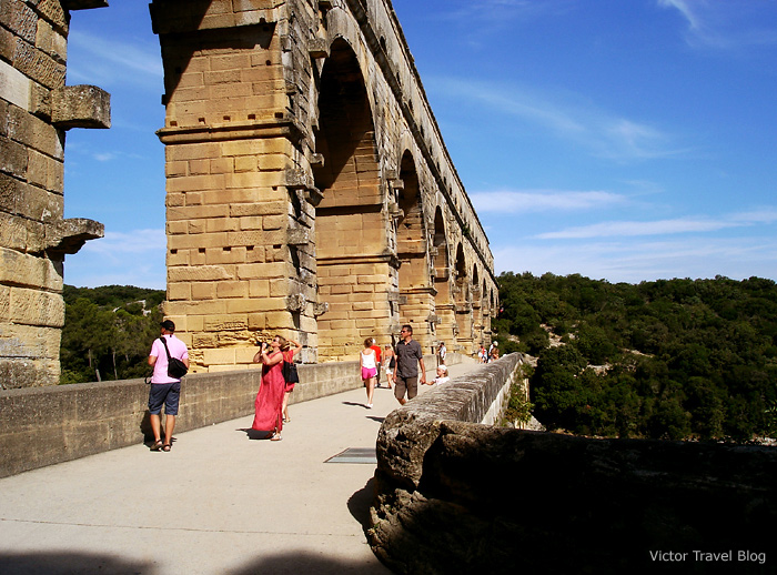 Le Pont du Gard, a bridge and an aqueduct, Provence, France.