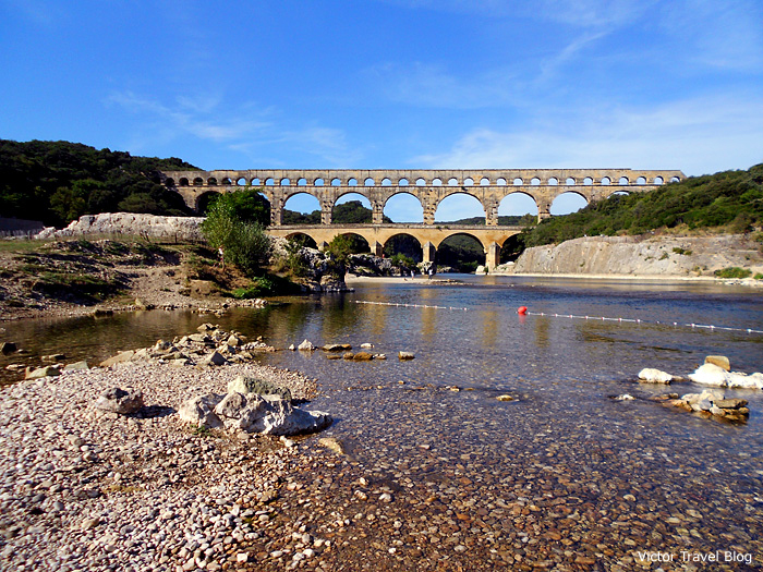 Le Pont du Gard - a Roman aqueduct in Gard department of Languedoc-Roussillon, France.