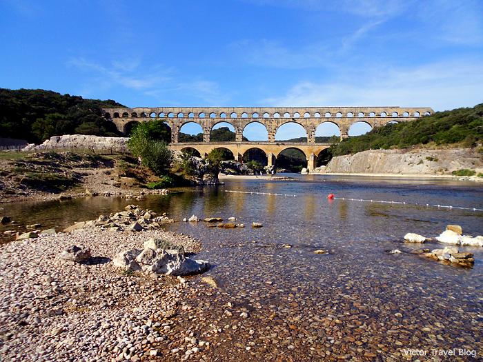 Le Pont du Gard - a Roman aqueduct in Gard department of Languedoc-Roussillon, France.