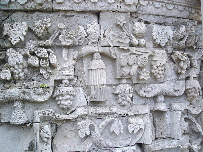 Decorative stone carving in the Baroque church in Dubrovitsy, Russia.