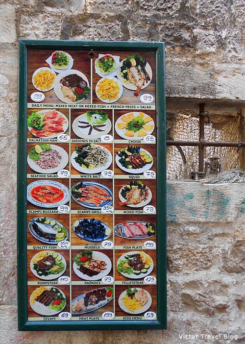 Menu of Capo. Trogir, Croatia.