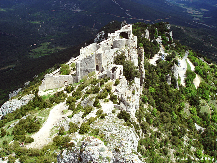 Ruins of the Cathar castle of Peyrepertuse. Languedoc, France.