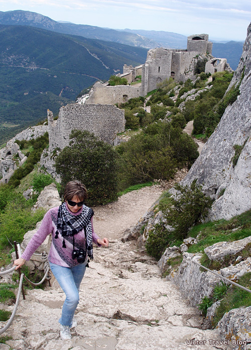 The main stair of the castle of Peyrepertuse. Languedoc, France.
