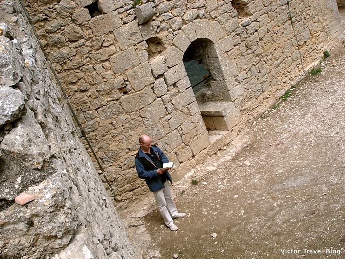 Inside of the ruins of the Peyrepertuse castle. Languedoc, France.