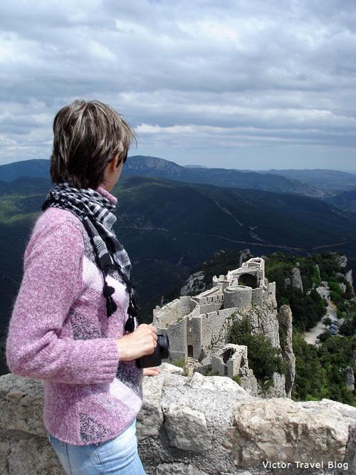 The Cathar castle Peyrepertuse. Languedoc, France.