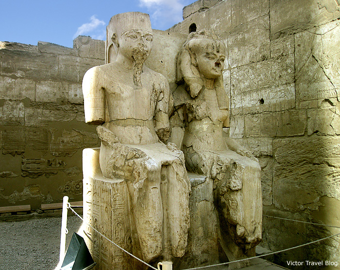 The statue of Ramses II and his wife Nefertari, Luxor Temple