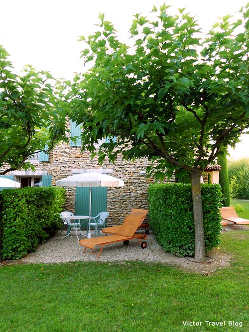 The private part of garden in Hotel Mas de la Senancole. Gordes, Provence, France.