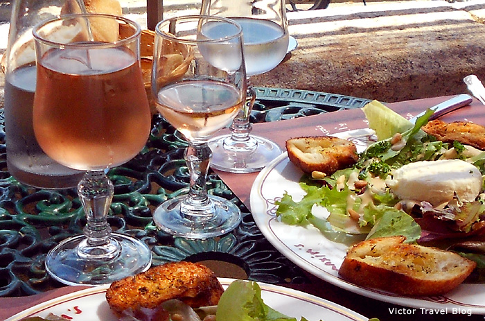 French rose wine in Provence, France.