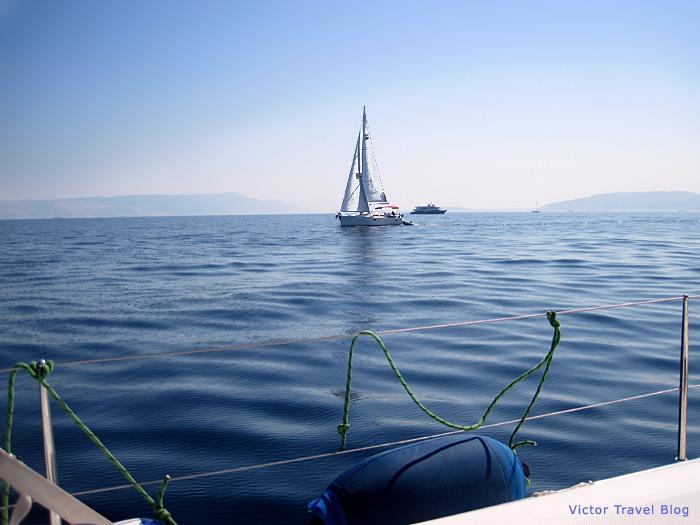 Sailing in the Adriatic Sea. Croatia.