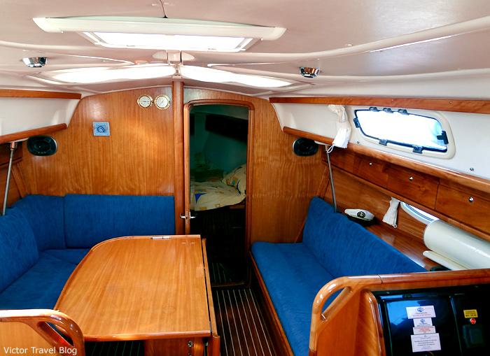 Inside of our yacht Bavaria 33. Croatia.