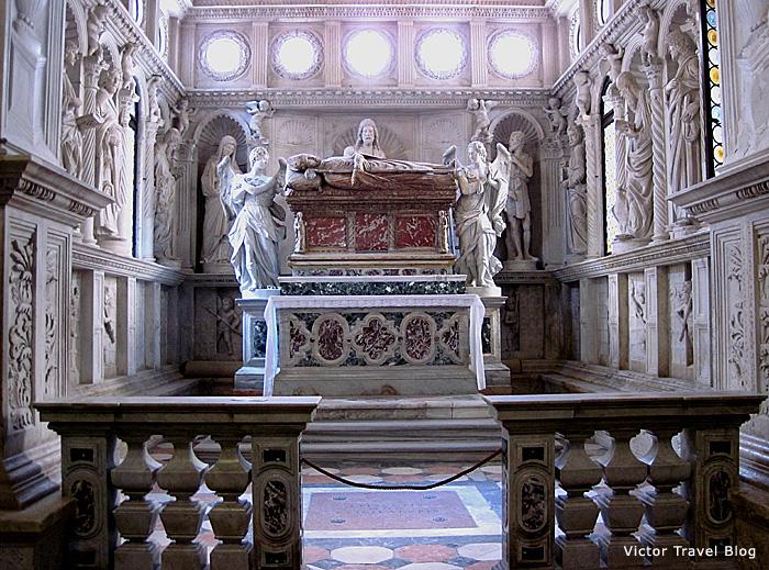 The marble sarcophagus of St. Ivan Trogirski. Trogir, Croatia.