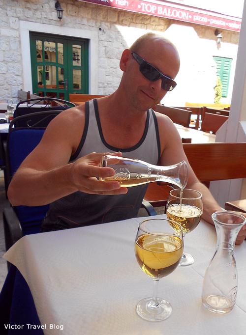 Local white wine in Trogir, Croatia.