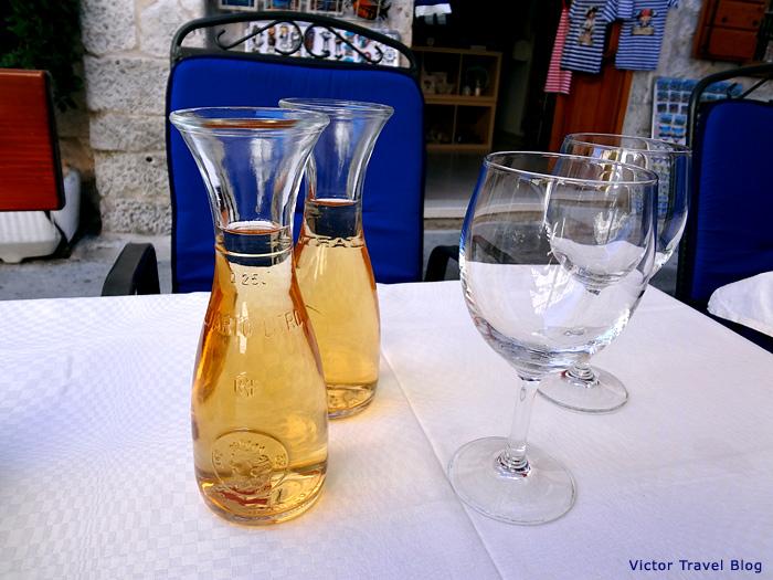 White wine in Trogir, Croatia.