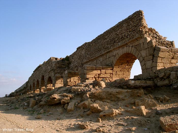 Aqueduct in Caesarea, Israel.