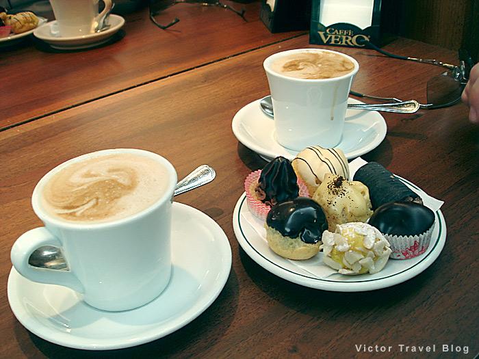 Coffee and profiteroles. Italian cuisine. Verona, Italy.