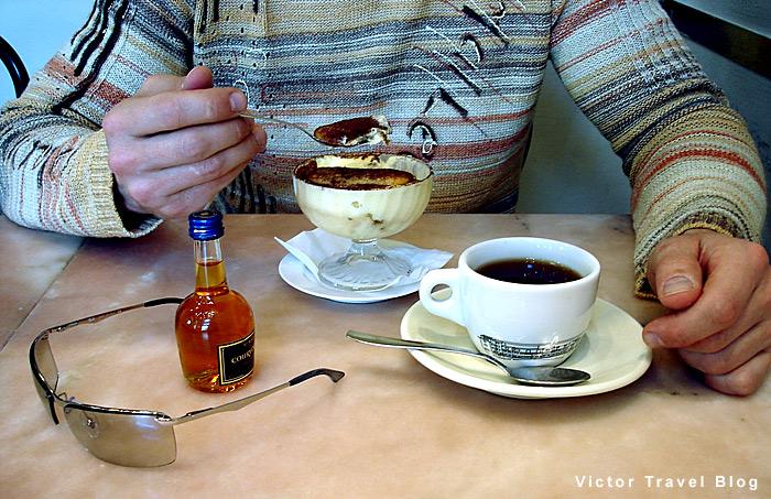 Coffee and Tiramisu. Italian cuisine. Florence, Italy.