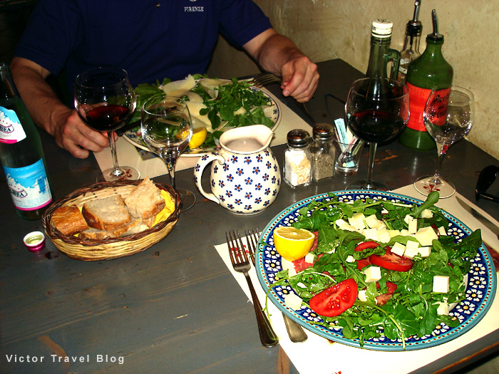 Italian cuisine. Trattoria in Florence, Italy.