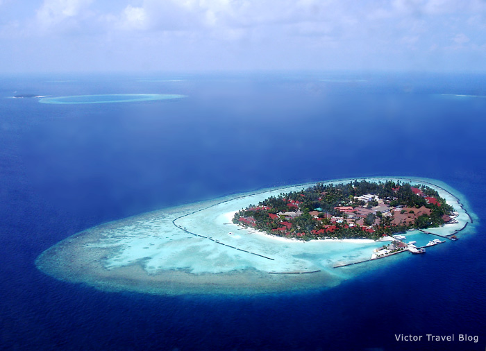 Airview of one of the Maldives islands