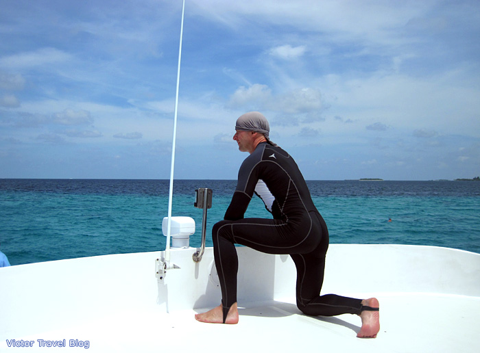 Victor is on the yacht during the whale shark trip in the Indian Ocean. The Maldives.