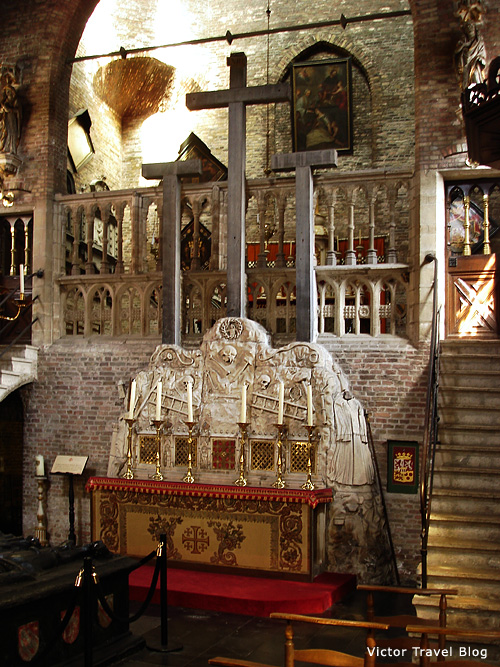 The stone model of Golgotha in the Jerusalem Church of Bruges, Belgium.