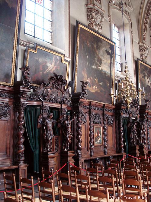 Inside of Saint Anna's Church in Bruges. Belgium.