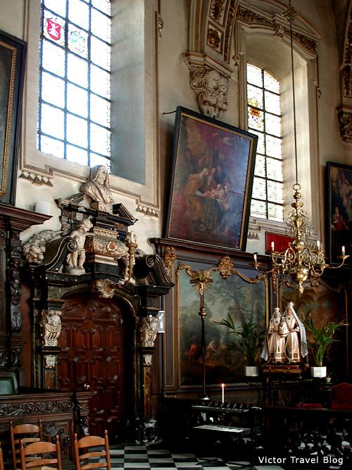 Magnificent interior of Saint Anna's Church in Bruges, Belgium.