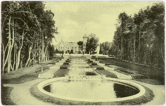 An old photo of water cascades of the castle Muromtsevo, Russia.