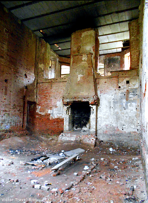 Inside of the Russian castle Muromtsevo. The former ball room.