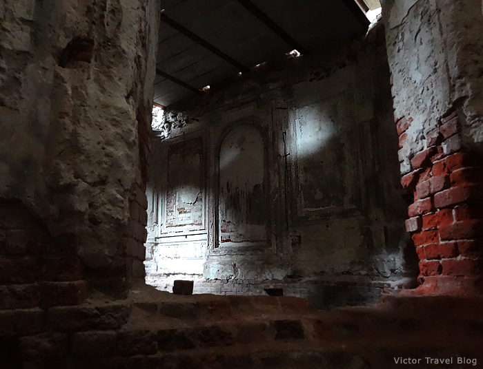 Inside of the Russian castle Muromtsevo near Vladimir.