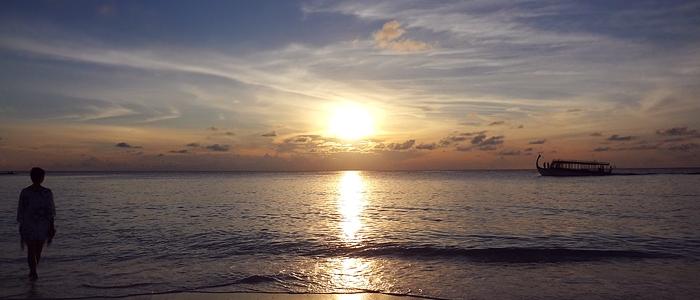 The sanset on the Reethi Beach, Maldives