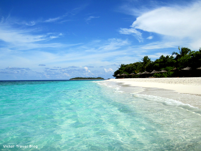 The beach of the Reethi Island Resort. The Maldives.