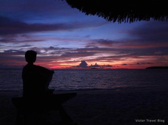 Sanset on Reethi Beach Resort, the Maldives