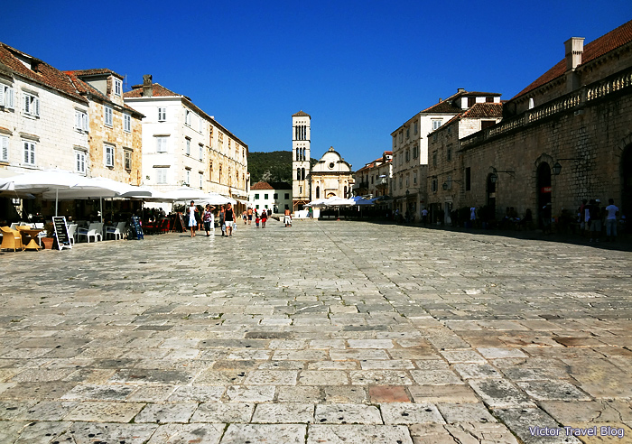 Medieval square in  Hvar, Croatia