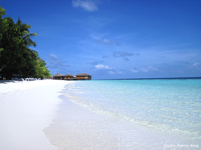 Beach of Vilamendhoo Island Resort. The Maldives.